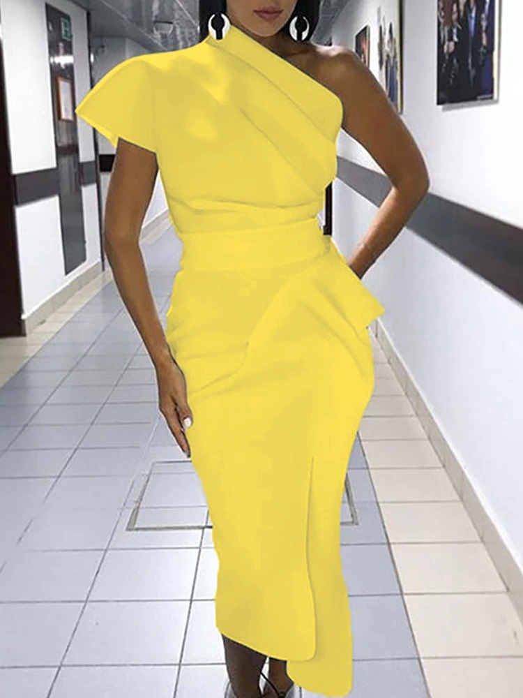 2020-Spring-Women-Elegant-Sexy-Solid-White-Cocktail-Midi-Dresses-Asymmetrical-One-Shoulder-Ruched-Irregular-Formal